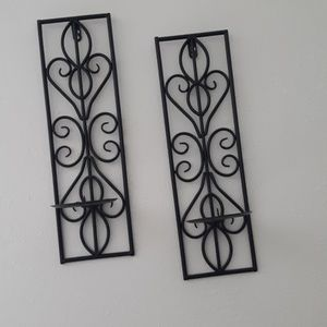 Pair of Metal Wall Art Candle Holders